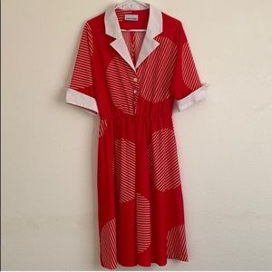 Toni Todd Vintage Geometric Print Shirt Dress